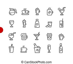 Drinks Icons // Red Point Series - Vector line icons for...