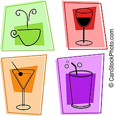 drinks icons - selection of beverages , coffee, red wine, ...