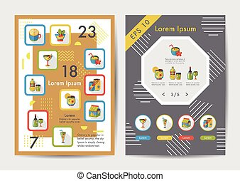 Drinks icons set with long shadow,eps10