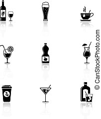 Drinks icons with reflection
