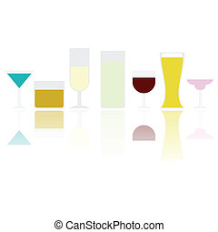 Drinks - Illustration of different types of drink, reflected...