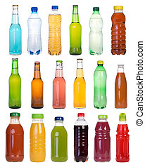 Drinks in bottles isolated on white background