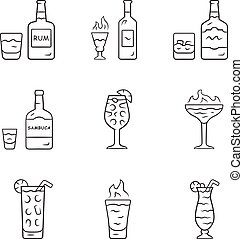 Drinks linear icons set. Rum, absinthe, whiskey, sambuca, ...