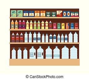 drinks., mensole, spuntini, isolato, grande, fondo., lotto, bianco, scaffale