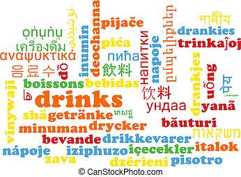 Drinks multilanguage wordcloud background concept
