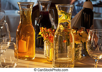 Drinks on table