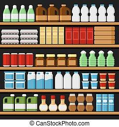 drinks., prateleiras, supermarket., shelfs, vetorial, produtos
