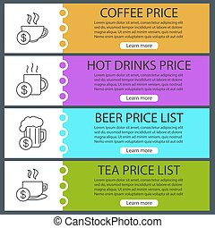 Drinks price lists web banner templates set