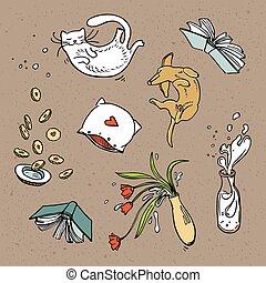 drinks., set, volare, cibo, relativo, animali domestici, oggetti, casa