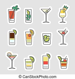 Drinks stickers set