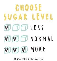 drinks., suiker, kiezen, niveau