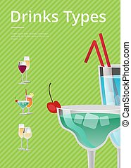 Drinks Type Advert Poster with Blue Cocktail Glass