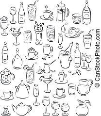 Drinks - vector illustration of beverage collection in black...
