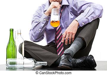 drinkt, alcohol, van, fles