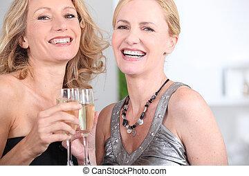 drinkt, champagne, twee vrouwen