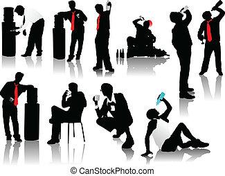 drinkt, mannen, silhouettes