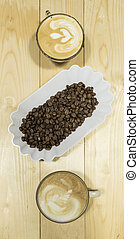 Drip coffee latte art, vintage filter image