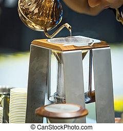 drip., närbild, kaffe