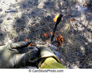 Drip Torch - Drip torch igniting prescribed fire in forest.