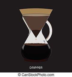dripper, kaffe