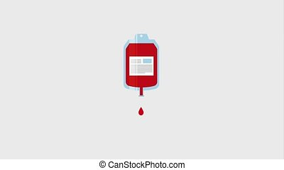 dripping blood bag donation campaign ilustration