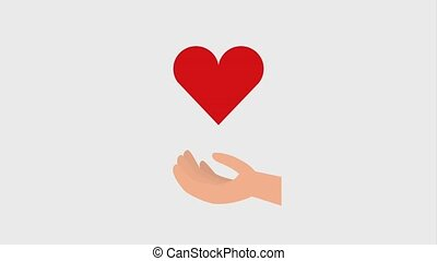 dripping blood in hand heart donation ilustration