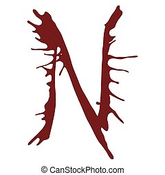 Dripping blood ink fonts the letter N.