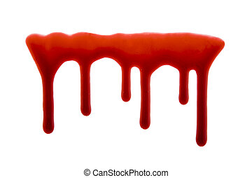 Dripping blood isolated on white with clipping path