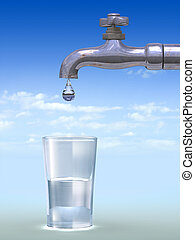 Dripping faucet and water glass. Digital illustration.