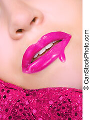 dripping gloss - sexy pink lips with dripping lip gloss and...