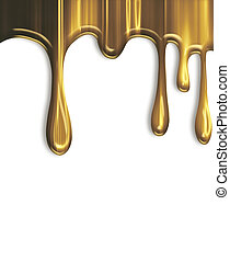 dripping gold paint isolated on a white background