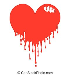 Dripping Heart - An edgy red heart that appears to be...