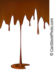 Dripping Melted Chocolate Syrup - illustration of melted...