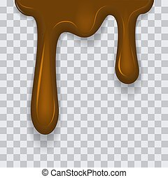 Dripping melted chocolates isoalted. Realistic 3d rector illustration of liquid chocolate cream or syrup. EPS 10