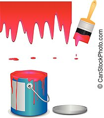 Dripping red paint and paint bucket