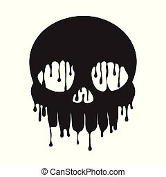 Dripping Skull Grunge - A grunge style dripping, melting...