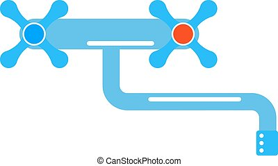 Dripping tap drop water faucet vector illustration. Icon of...