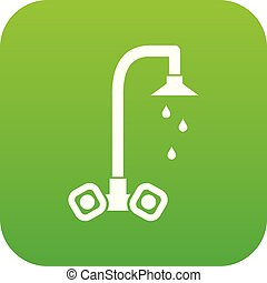 Dripping tap icon digital green for any design isolated on...