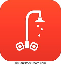 Dripping tap icon digital red for any design isolated on...
