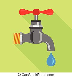 Dripping tap icon, flat style - Dripping tap icon. Flat...