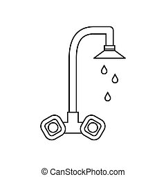Dripping tap icon, outline style - icon in outline style on...