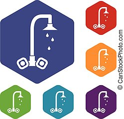 Dripping tap icons set rhombus in different colors isolated...