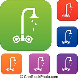 Dripping tap set collection - Dripping tap set icon in...