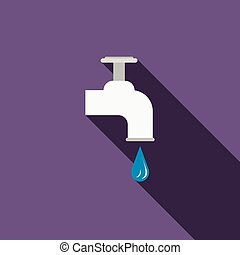 Dripping tap with drop icon, flat style - Dripping tap with...