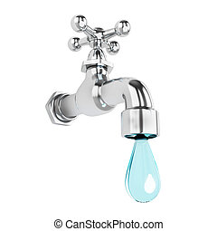 Dripping tap with drop. Isolated on white background