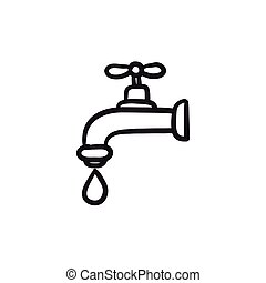 Dripping tap with drop sketch icon. - Dripping tap with drop...
