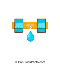 Dripping water pipe icon, cartoon style