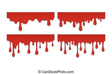 drips., vektor, blod, illustration
