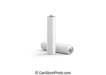driva, batteri, isolerat, mockup, stå, tom, vit, lögnaktig