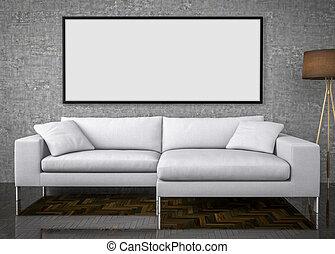 driva med, uppe, affisch, stor, soffa, betongvägg, bakgrund, 3, illustration